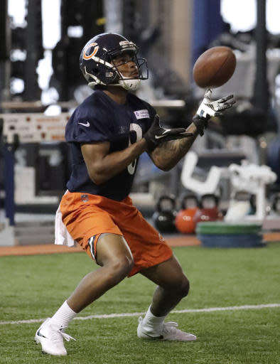 Chicago Bears wide receiver Garrett Johnson catches a ball during the NFL football team's rookie minicamp Friday, May 11, 2018, in Lake Forest, Ill. (AP Photo/Nam Y. Huh)