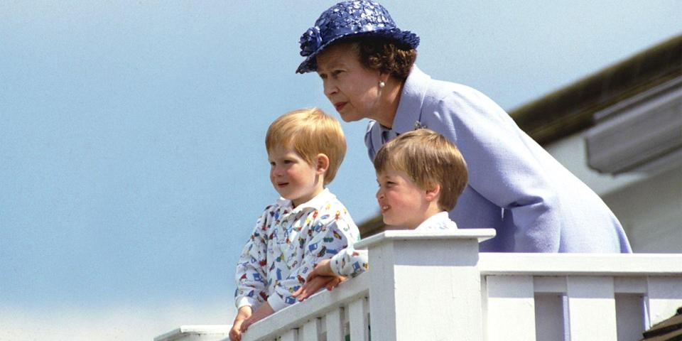 <p>The queen and her two grandchildren Prince William and Prince Harry sat in a royal box at Guards Polo Club in Smiths Lawn, Windsor.</p>
