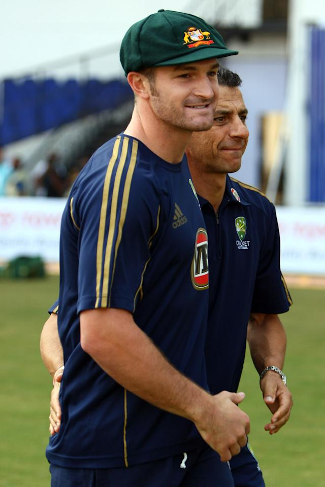 NAGPUR, INDIA - NOVEMBER 06:  Jason Krejza of Australia is awarded his first baggy green cap before day one of the Fourth Test match between India and Australia at the Vidarbha Cricket Association Stadium on November 6, 2008 in Nagpur, India.  (Photo by Michael Steele/Getty Images)