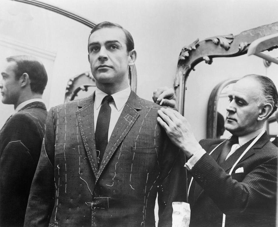 <p>Tailor Anthony Sinclair fitting Sean Connery for one of the suits he will wear in the film 'From Russia With Love', 1963. </p>