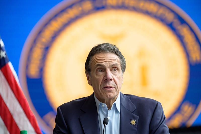 Gov. Andrew Cuomo is seen during a press conference at the field hospital site at the Javits Center on March 30 in New York City. (Pacific Press via Getty Images)