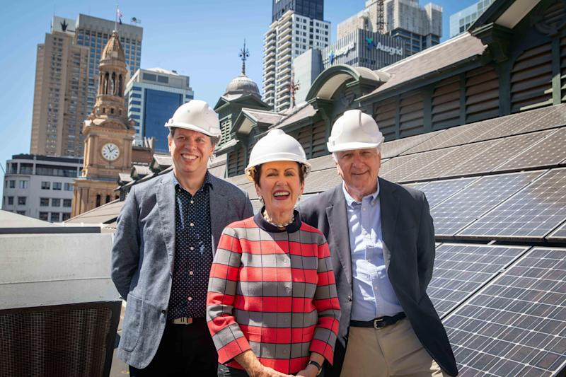 Flow Power managing director Matthew van der Linden; City of Sydney Lord Mayor Clover Moore; Repower Shoalhaven's Robert Haywood. (Source: Supplied)