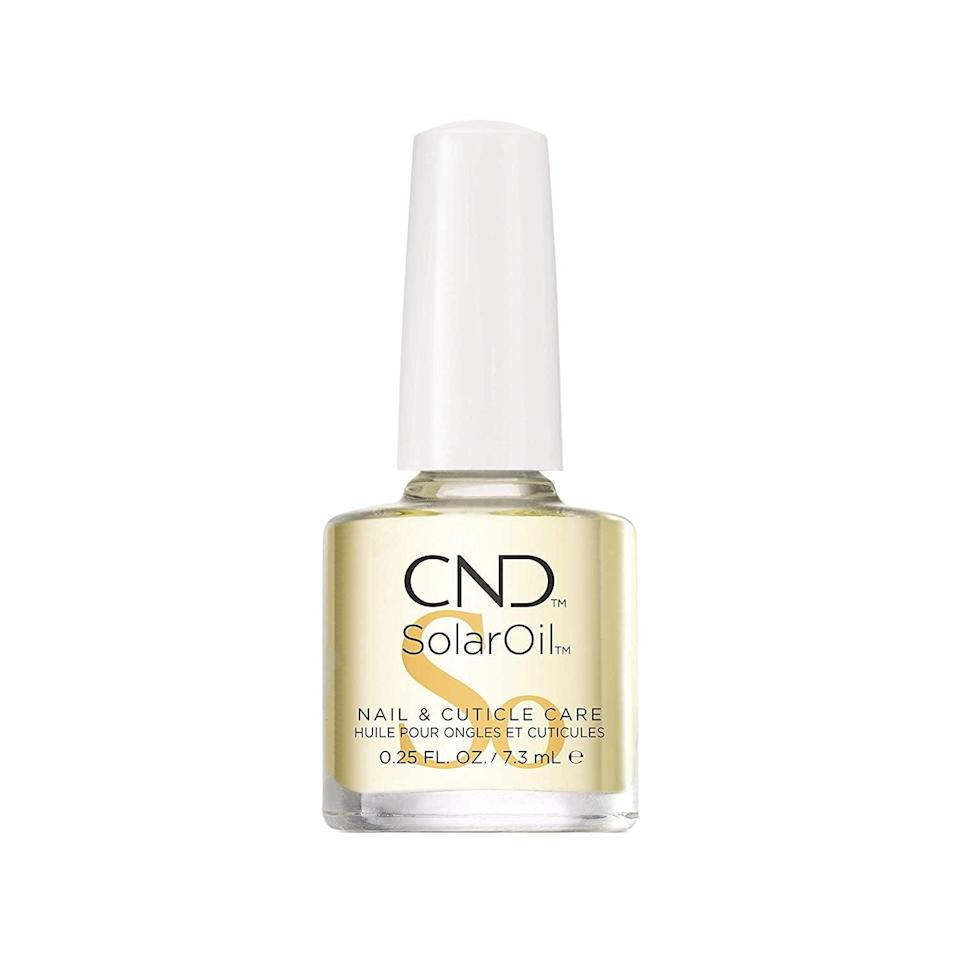 """<p>""""My favorite drugstore product would have to be <span>CND SolarOil</span> ($9). With a blend of sweet-almond oil, jojoba, rice-bran oil, and vitamin E, it's the perfect tried-and-true rehydration for your cuticles and nails."""" - <a href=""""https://www.instagram.com/tombachik/?hl=en"""" class=""""link rapid-noclick-resp"""" rel=""""nofollow noopener"""" target=""""_blank"""" data-ylk=""""slk:Tom Bachik"""">Tom Bachik</a>, celebrity nail artist</p>"""