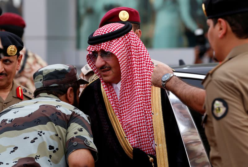 Saudi Crown Prince Mohammed Bin Nayef, the interior minister, arrives to a military parade in preparation for the annual Haj pilgrimage in the holy city of Mecca