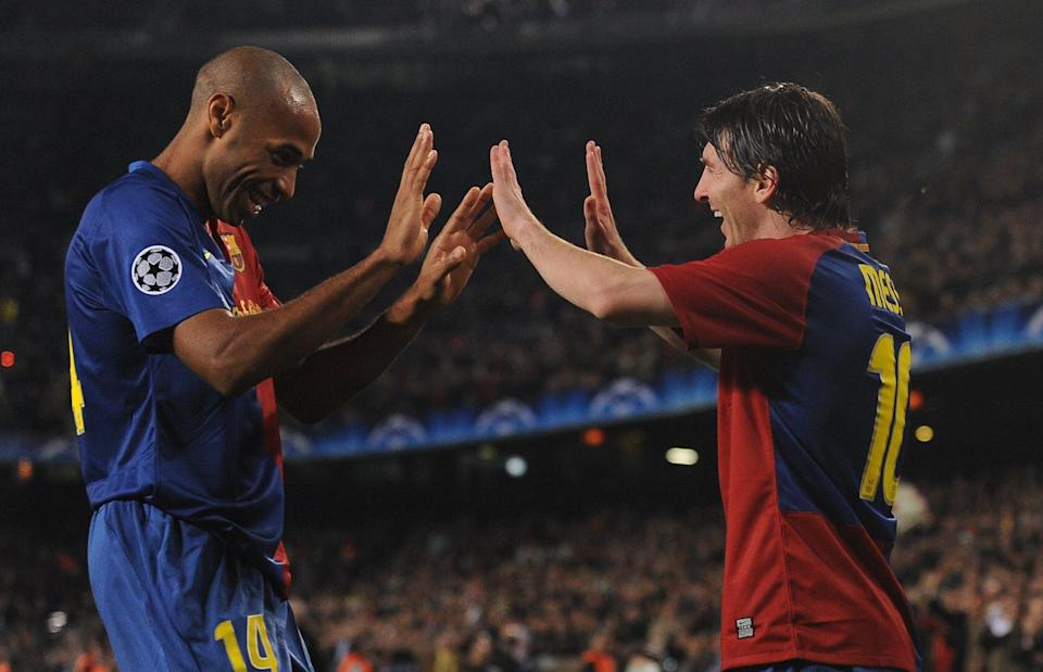 <p>Nombre: Thierry Henry y Lionel Messi<br>Equipo: FC Barcelona<br>Foto: Getty Images </p>