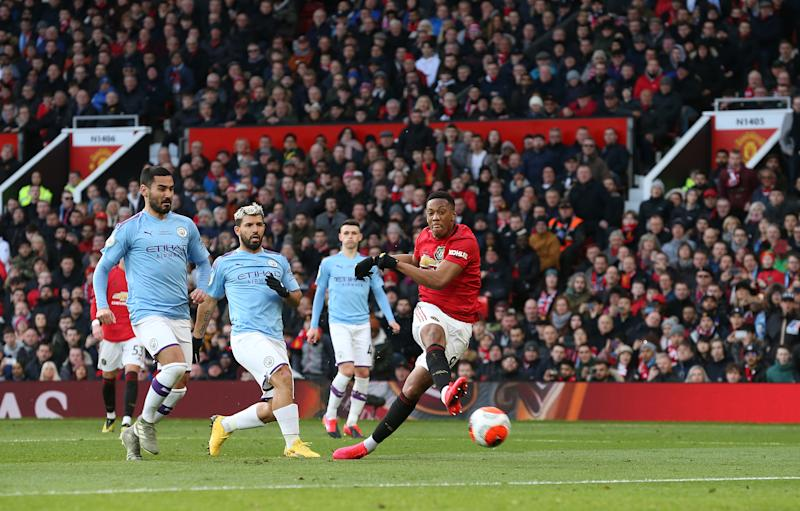 Anthony Martial's goal was ultimately the difference as Manchester United swept both Premier League meetings vs. Manchester City this season. (Photo by John Peters/Manchester United via Getty Images)