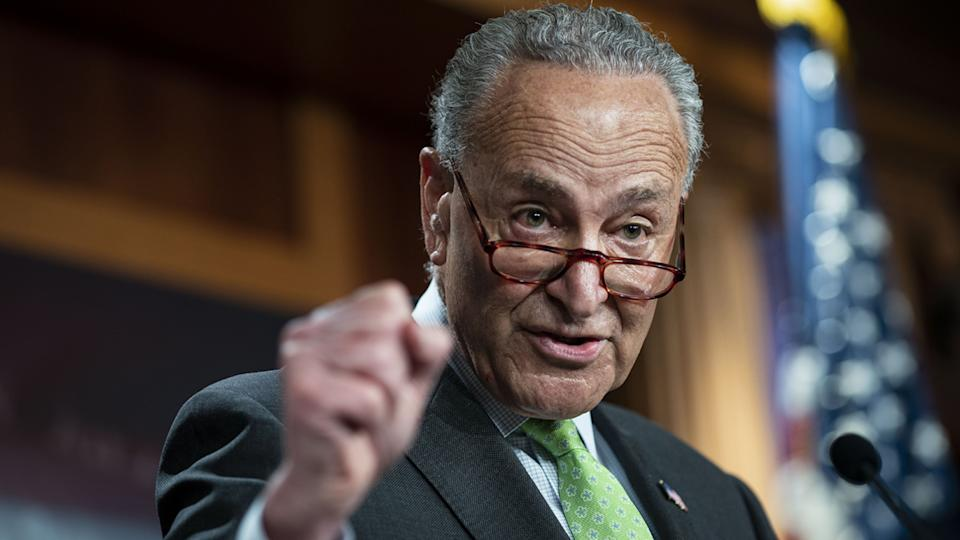 Senate Majority Leader Chuck Schumer, D-N.Y., at a news conference on the Child Tax Credit at the U.S. Capitol on Thursday.