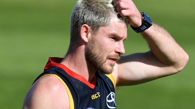 Bryce Gibbs with watch the Crows' Showdown against Port from the stands after his non-selection