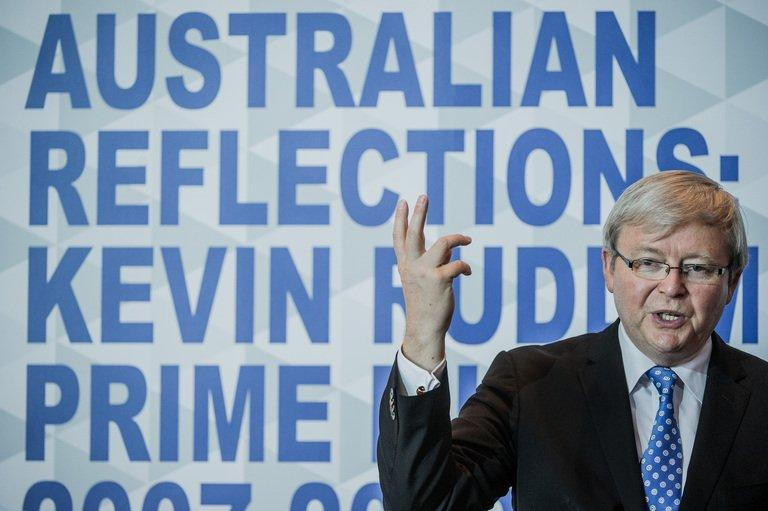 Australia's former PM, Kevin Rudd, pictured during a luncheon in Hong Kong, on September 27, 2012