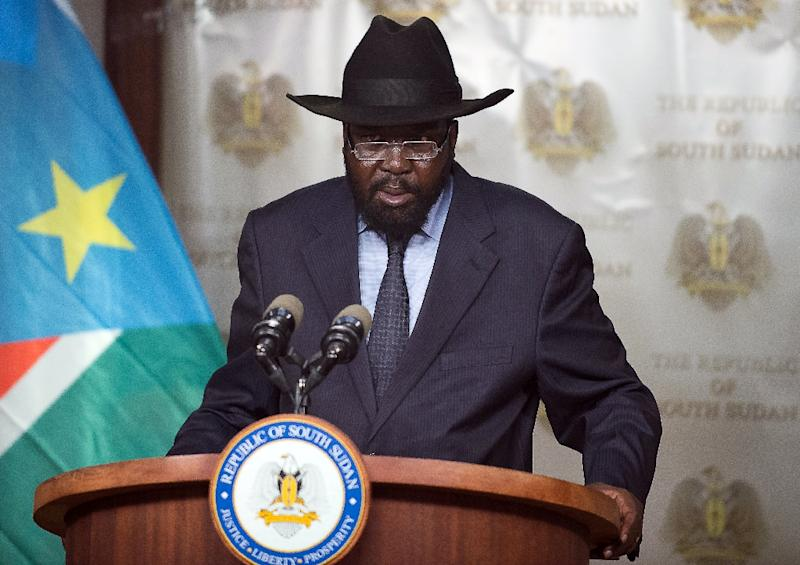 The war began in December 2013 when President Salva Kiir (pictured) accused his rival Machar of plotting a coup (AFP Photo/Charles Atiki Lomodong)