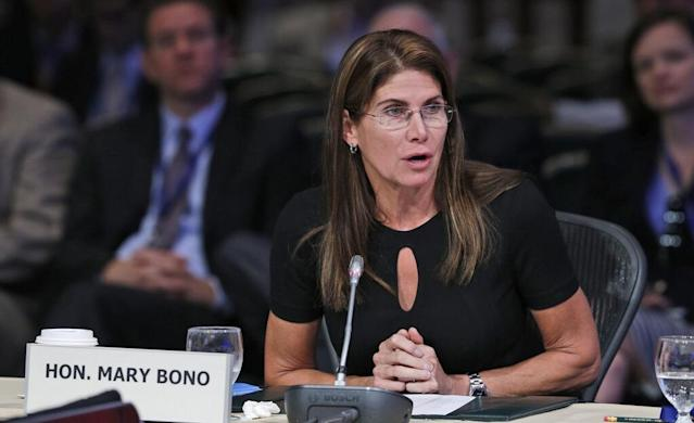 Mary Bono was criticized first by Simone Biles for her anti-Nike tweet and then by Aly Raisman for her law firm's part in the Larry Nassar scandal.