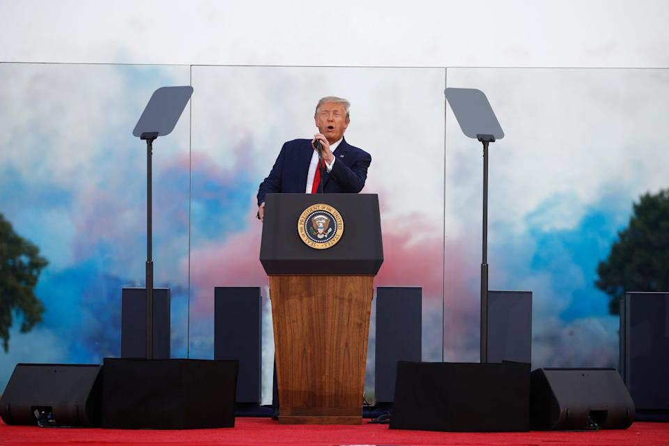 """President Donald Trump speaks during a """"Salute to America"""" event on the South Lawn,"""