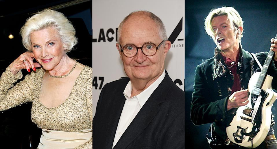 Honor Blackman, Jim Broadbent and David Bowie are among those to have turned down honours. (NILS MEILVANG/AFP via Getty Images. Rosie Greenway/Getty Images. David M. Benett/Dave Benett/WireImage.)