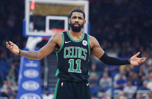 Celtics guard Kyrie Irving was fed up after a 105-103 loss to the Magic on Saturday. (Stephen M. Dowell/Orlando Sentinel/TNS via Getty Images)
