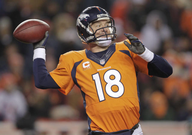 Denver Broncos quarterback Peyton Manning (18) passes against the San Diego Chargers in the second quarter of an NFL football game, Thursday, Dec. 12, 2013, in Denver. (AP Photo/Joe Mahoney)