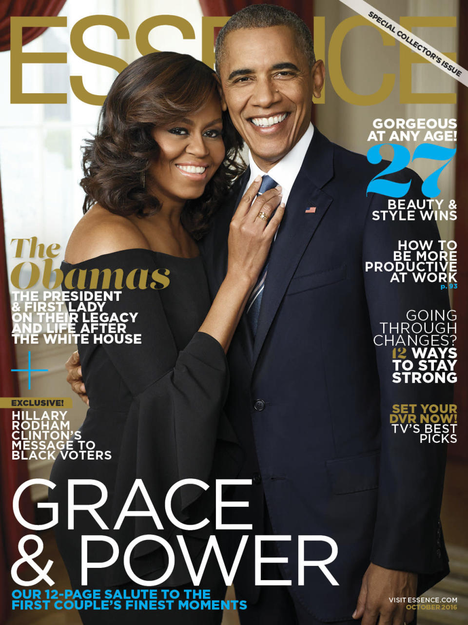 <p>Arguably the ultimate power couple, the then-President of the US took to <em>Essence</em> magazine towards the end of his term to give an interview with Michelle. The duo looked as professional, yet on-trend, as ever with Barack in a navy suit and Michelle in an off-the-shoulder top. </p>