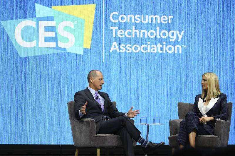 Ivanka Trump, right, the daughter and senior adviser to U.S. President Donald Trump, listens to Gary Shapiro, left, CEO of the Consumer Technology Association, ask a question during the Consumer Technology Association Keynote during the CES tech show Tuesday, Jan. 7, 2020, in Las Vegas. (AP Photo/Ross D. Franklin)