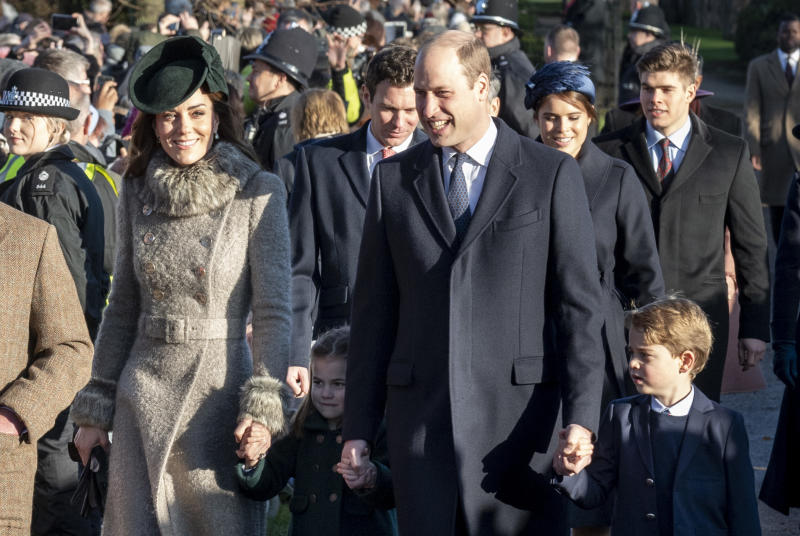 Catherine, Duchess of Cambridge and Prince William, Duke of Cambridge with Prince George of Cambridge and Princess Charlotte of Cambridge attend the Christmas Day Church service at Church of St Mary Magdalene on the Sandringham estate on December 25, 2019 in King's Lynn, United Kingdom.