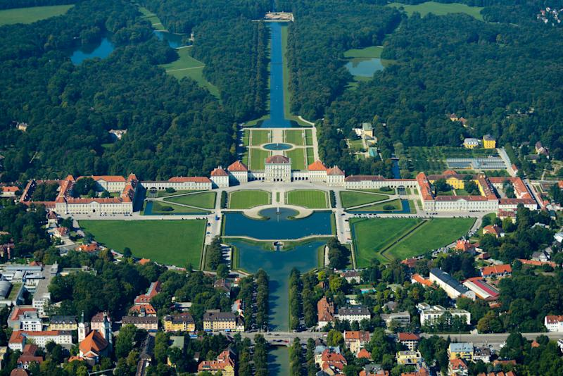 Aerial view of buildings in Munich, Germany.