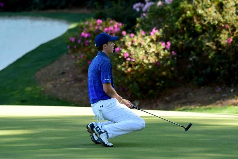 Jordan Spieth of the United States reacts to a missed putt for eagle on the 13th hole during the third round of the 2017 Masters Tournament at Augusta National Golf Club