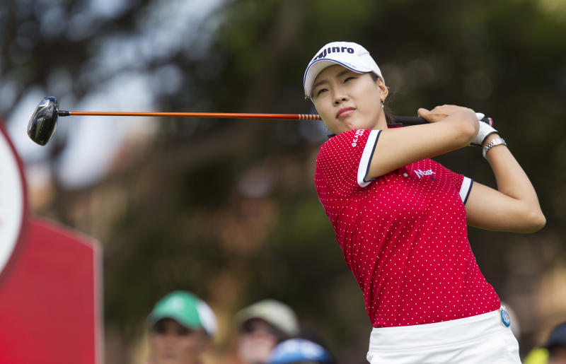 Hee Kyung Seo of South Korea, tees off on the first hole during the third round of the LPGA Lotte Championship golf tournament at Ko Olina Golf Club Friday, April 19, 2013, in Kapolei, Hawaii. (AP Photo/Eugene Tanner)
