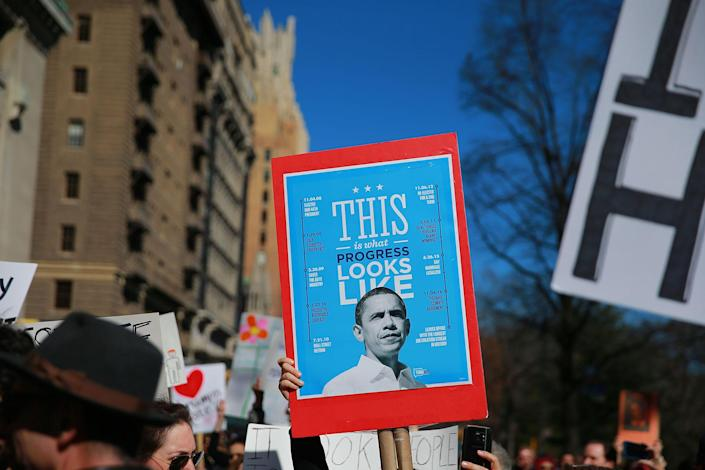 """<p>A demonstrator holds up a sign featuring former U.S. President Barack Obama during the """"Not My President's Day"""" rally at Central Park West in New York City on Feb. 20, 2017. (Gordon Donovan/Yahoo News) </p>"""