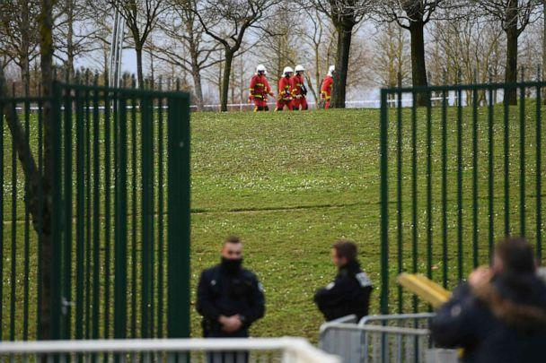 PHOTO: Police and firefighters gather in a park in the south of Paris' suburban city of Villejuif on Jan. 3, 2020, where police shot dead a knife-wielding man who killed one person and injured at least two others. (Christophe Archambault/AFP via Getty Images)