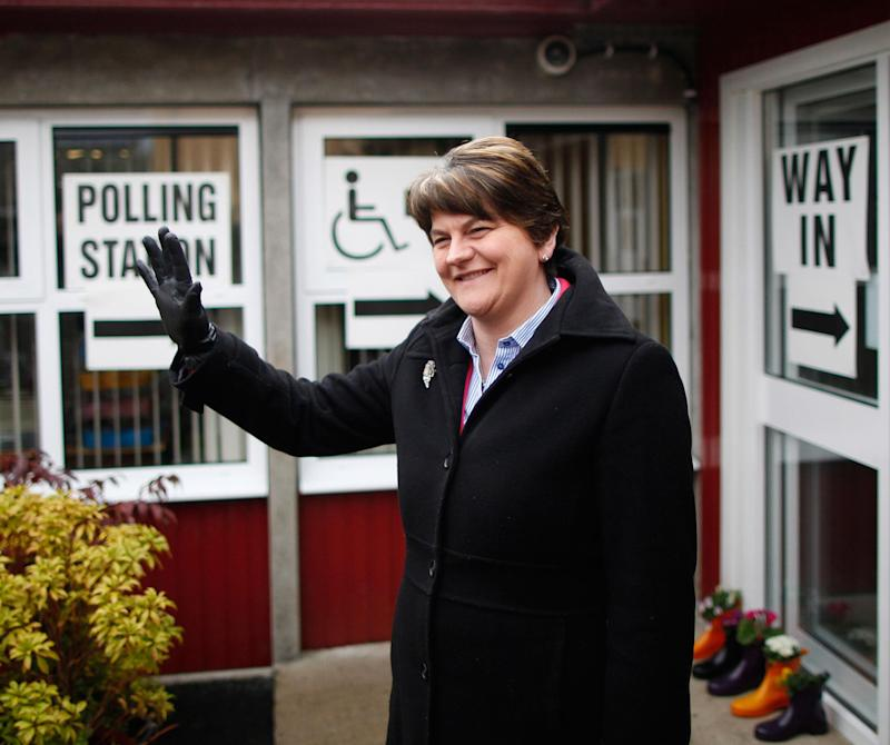 Democratic Unionist Party leader Arlene Foster arrives to cast her vote at a polling station in Brookeborough, Northern Ireland: AP