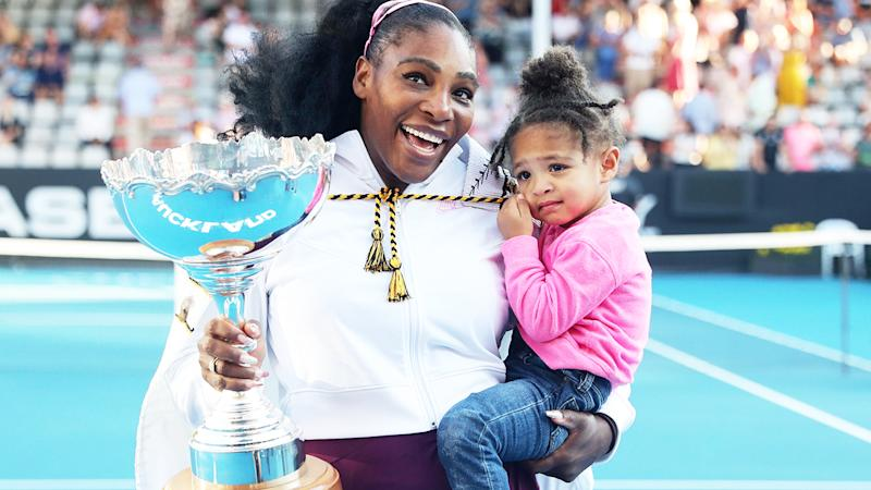 Serena Williams, pictured here with daughter Alexis Olympia after winning the Auckland Classic in January 2020.