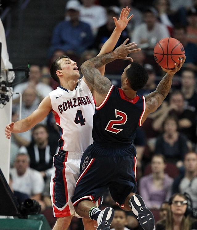 Gonzaga's Kevin Pangos covers a shot from Saint Mary's Paul McCoy during the first half of a West Coast Conference tournament NCAA college basketball game, Monday, March 10, 2014, in Las Vegas. (AP Photo/Isaac Brekken)
