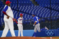 Israel's Danny Valencia rounds the basses after hitting a two run home run during the eight inning of a baseball game against the Dominican Republicat at the 2020 Summer Olympics, Tuesday, Aug. 3, 2021, in Yokohama, Japan. (AP Photo/Matt Slocum)