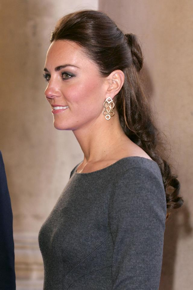 """<p>That's right! Even the <a rel=""""nofollow"""" href=""""http://www.goodhousekeeping.com/beauty/hair/a33328/kate-middleton-new-hair-wimbledon-photos/"""">Duchess of Cambridge</a> loves this trendy style. Follow Kate's lead by teasing a little volume into the crown of your head, then pop on a pair of jewels to show of with your new 'do.</p>"""