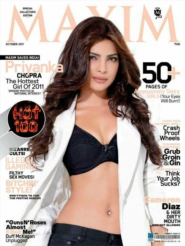 <p>Priyanka posed for the cover of Maxim in October 2011 and what a stunner she was! The actress showed off her well-toned abs in a black bikini with a white shrug thrown over her shoulder. Doesn't she ooze oomph and glamour?</p>
