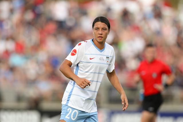 "The NWSL's new compensation rules are designed in part to lure major international talents to the league or, in the case of former Chicago Red Stars striker <a class=""link rapid-noclick-resp"" href=""/olympics/rio-2016/a/1176560/"" data-ylk=""slk:Samantha Kerr"">Samantha Kerr</a>, keep them there. (Photo by Andy Mead/ISI Photos/Getty Images)."
