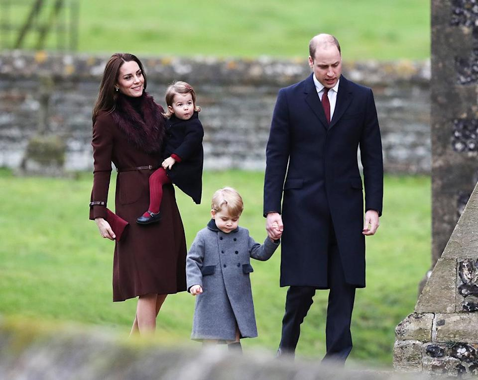 <p>All eyes were no doubt on Prince William and Duchess Kate when they attended Christmas church service with their adorable tots, Prince George and Princess Charlotte. (Photo: Andrew Matthews – WPA Pool/Getty Images) </p>
