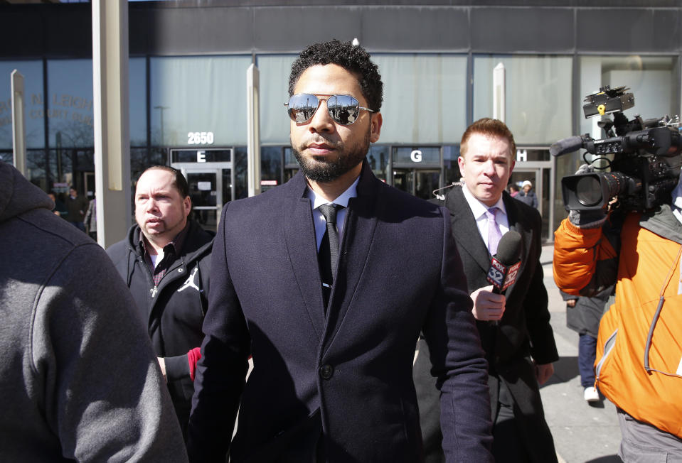 Jussie Smollett leaves Chicago courthouse on March 26, 2019 after it's announced that all charges were dropped against the actor. (Photo: Nuccio DiNuzzo/Getty Images)