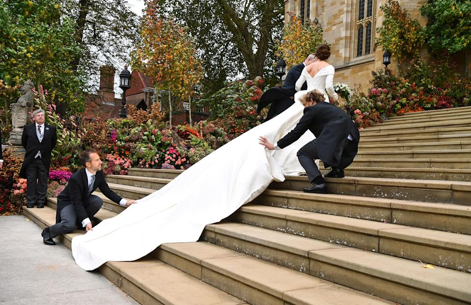 <p>Eugenie also specifically requested a low back on the gown as she wanted to display the scar she has from a surgery she underwent at age 12 to correct scoliosis. Photo: Getty </p>