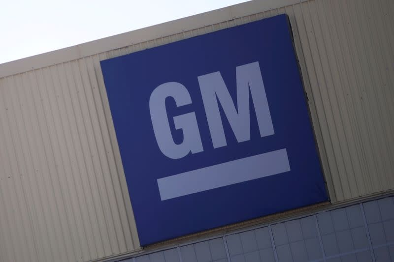 FILE PHOTO: Logo of General Motors is pictured at its plant in Silao
