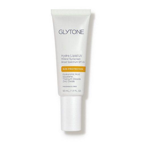 """<p><strong>Glytone</strong></p><p>dermstore.com</p><p><strong>$36.00</strong></p><p><a href=""""https://go.redirectingat.com?id=74968X1596630&url=https%3A%2F%2Fwww.dermstore.com%2Fproduct_Hydra%2BLipid%2BUV%2BMineral%2BSunscreen%2BBroad%2BSpectrum%2BSPF%2B40_84523.htm&sref=https%3A%2F%2Fwww.goodhousekeeping.com%2Fbeauty%2Fanti-aging%2Fg36098250%2Fbest-sunscreens-for-dark-skin%2F"""" rel=""""nofollow noopener"""" target=""""_blank"""" data-ylk=""""slk:Shop Now"""" class=""""link rapid-noclick-resp"""">Shop Now</a></p><p>Glytone's lightweight formula is among Dr. Libby's favorites because it's<strong> lightweight and blends in seamlessly</strong>. """"It protects the skin with mineral UV blockers and uses its patented Active Stress Technology to coat the zinc oxide and titanium dioxide particles and further reduce free radical formation,"""" she says. It's also infused with <a href=""""https://www.goodhousekeeping.com/beauty/anti-aging/g31136198/best-hyaluronic-acid-serums/"""" rel=""""nofollow noopener"""" target=""""_blank"""" data-ylk=""""slk:hyaluronic acid"""" class=""""link rapid-noclick-resp"""">hyaluronic acid</a> and squalene, so you don't have to worry about your complexion being dry or flaky. </p>"""