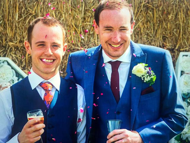Ashley Jenkins, left, and Callum Hodge on their wedding day (Picture: SWNS)