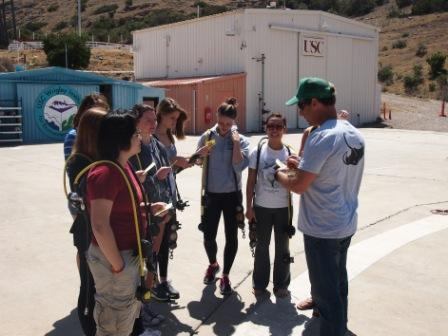 May 21, 2013. The author reviewing underwater navigation skills with members of the USC Environmental Studies dive team at the Wrigley Marine Science Center on Catalina Island. Photo: Tom Carr.