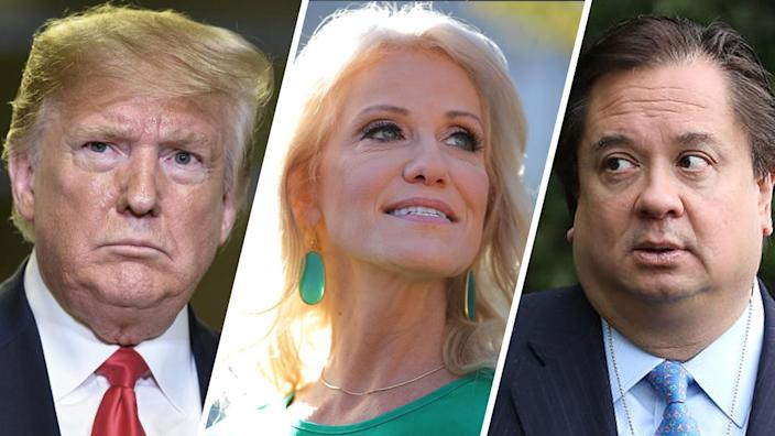 President Trump, Kellyanne Conway and George Conway. (Photos: Mandel Ngan/AFP via Getty Images, Chip Somodevilla/Getty Images)
