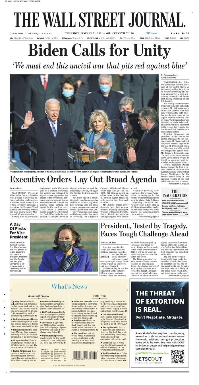 January 21, 2021 front page of The Wall Street Journal