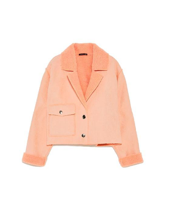 """<p>Good news, shearling has made a major comeback for a second season running. We have our eyes on this pastel hued cropped jacket from Zara. And we're pretty sure others have their hearts set on it too… <br><em><a rel=""""nofollow noopener"""" href=""""https://www.zara.com/uk/en/woman/new-in/fleece-jacket-c840002p5166613.html"""" target=""""_blank"""" data-ylk=""""slk:Zara"""" class=""""link rapid-noclick-resp"""">Zara</a>, £29.99</em> </p>"""