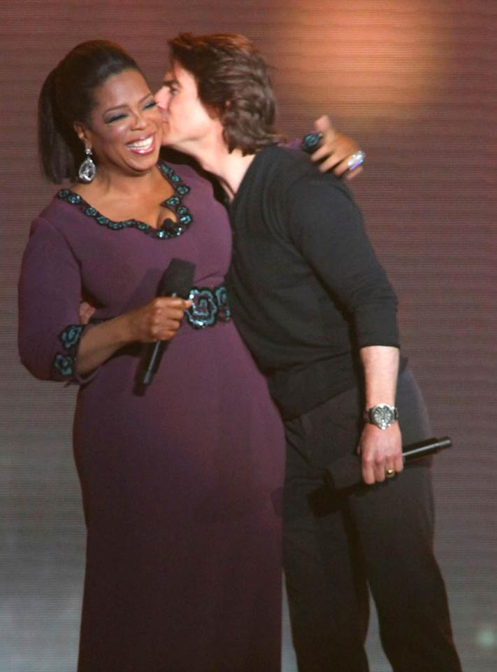"""Oprah Winfrey's star-studded """"Farewell Spectacular,"""" celebrating the end of her show's 25-season run didn't disappoint. Tom Cruise -- who will be forever linked with his infamous couch-jumping incident on the show -- was one of a slew of A-listers who showed up on Tuesday to kiss the billionaire goodbye. Barry Brecheisen/<a href=""""http://www.wireimage.com"""" target=""""new"""">WireImage.com</a> - May 17, 2011"""