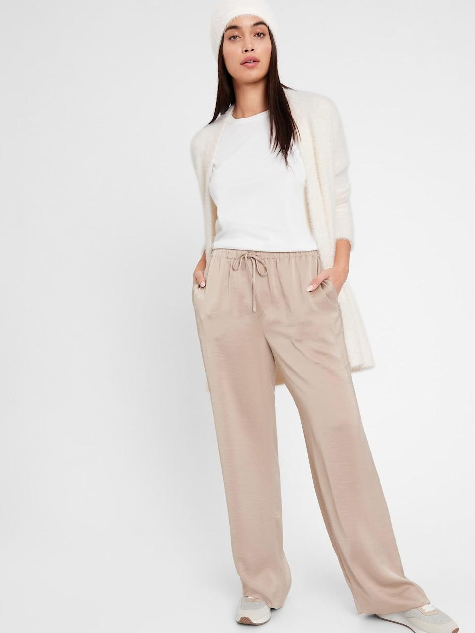 <p>Still can't get enough of loungewear? These <span>Banana Republic Wide-Leg Satin Pull-On Pant</span> ($71, originally $90) are a perfect compromise that are cozy like a favorite pair of satin pajamas, but dressy enough pair with heels.</p>