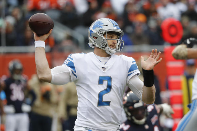 Detroit Lions quarterback Jeff Driskel (2) throws against the Chicago Bears during the first half of an NFL football game in Chicago, Sunday, Nov. 10, 2019. (AP Photo/Charles Rex Arbogast)