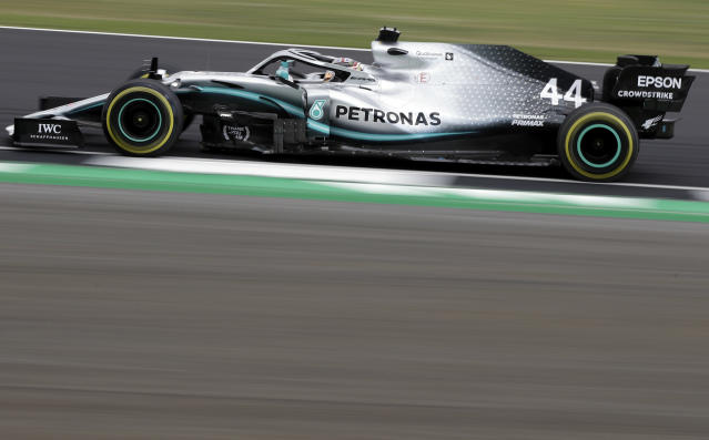 Mercedes driver Lewis Hamilton of Britain steers his car during the second free practice at the Silverstone racetrack, in Silverstone, England, Friday, July 12, 2019. The British Formula One Grand Prix will be held on Sunday. (AP Photo/Luca Bruno)