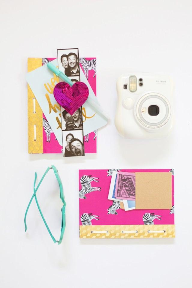 """<p>Using patterned paper and twine for binding, you can make standalone scrapbook pages that celebrate the amazing trips you've taken.</p><p><strong>Learn more at <a href=""""https://lovelyindeed.com/diy-travel-journals/"""" target=""""_blank"""">Lovely Indeed</a>.</strong></p><p><a class=""""body-btn-link"""" href=""""https://www.amazon.com/ELMERS-All-Purpose-Sticks-Large-E5022/dp/B003ULBP9Q/?tag=syn-yahoo-20&ascsubtag=%5Bartid%7C10050.g.30900737%5Bsrc%7Cyahoo-us"""">SHOP GLUE STICKS</a></p>"""