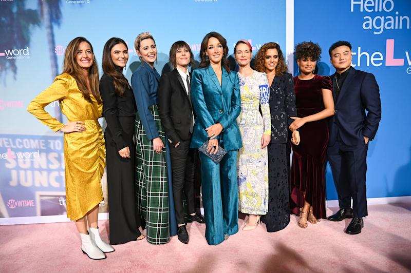 "Cast members (L-R) Stephanie Allynne, Arienne Mandi, Jacqueline Toboni, Katherine Moennig, Jennifer Beals, Leisha Hailey, Sepideh Moafi, Rosanny Zayas and Leo Sheng attend the red carpet premiere for Showtime's new drama series ""The L Word: Generation Q,"" on December 2, 2019 at the Regal Cinemas at L.A. LIVE in Los Angeles, California. (Photo by Robyn Beck / AFP) (Photo by ROBYN BECK/AFP via Getty Images)"